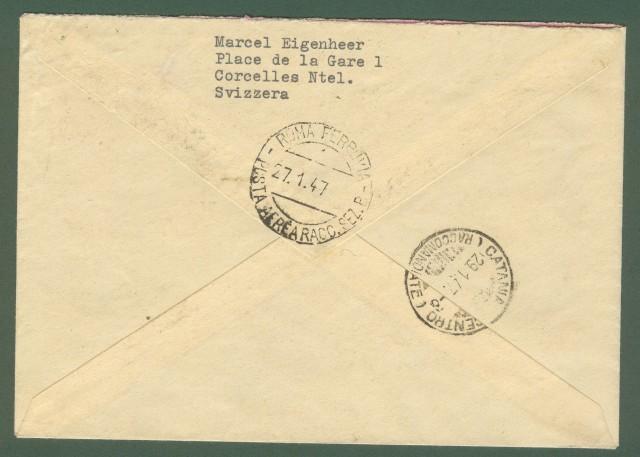 SVIZZERA. Lettera raccomandata del 1947 per Catania