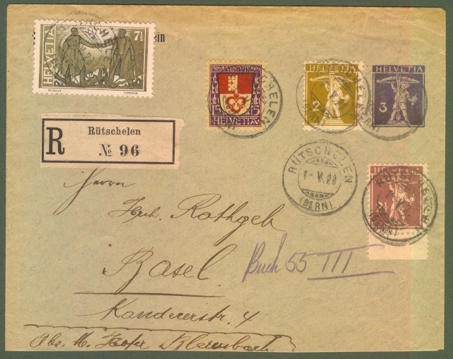 SVIZZERA. Lettera raccomandata del 1920 per Basilea