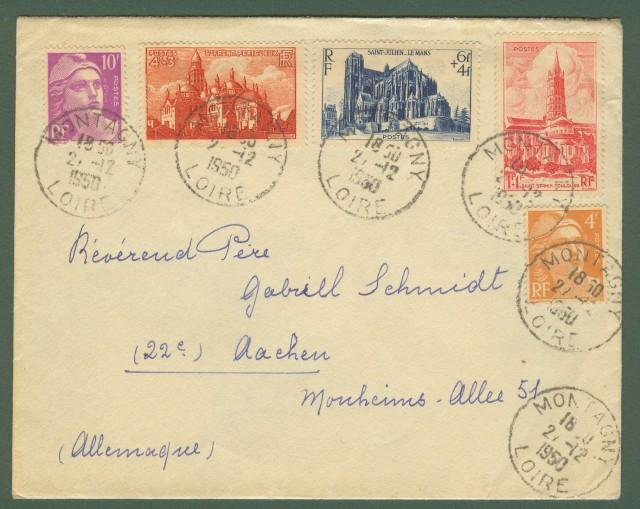 FRANCIA. Lettera del 1950 per la Germania
