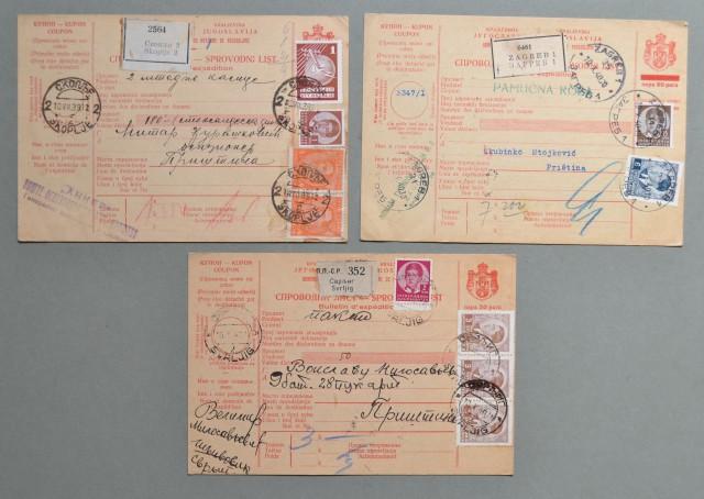 JUGOSLAVIA. 1939-40. Tre bollettini per pacchi
