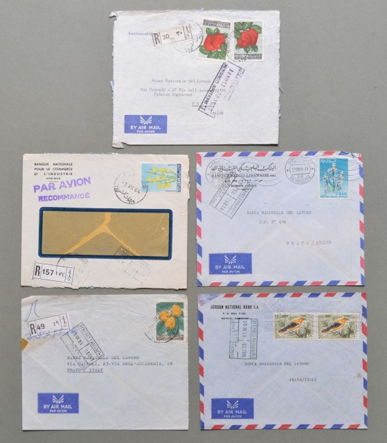 LIBANO. Cinque air mail covers for Italy. 1964/66.