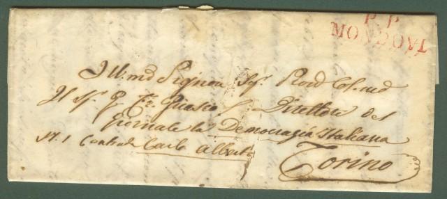 PIEMONTE. MONDOVI'. Lettera in porto pagato del 7 Agosto 1849 per Torino