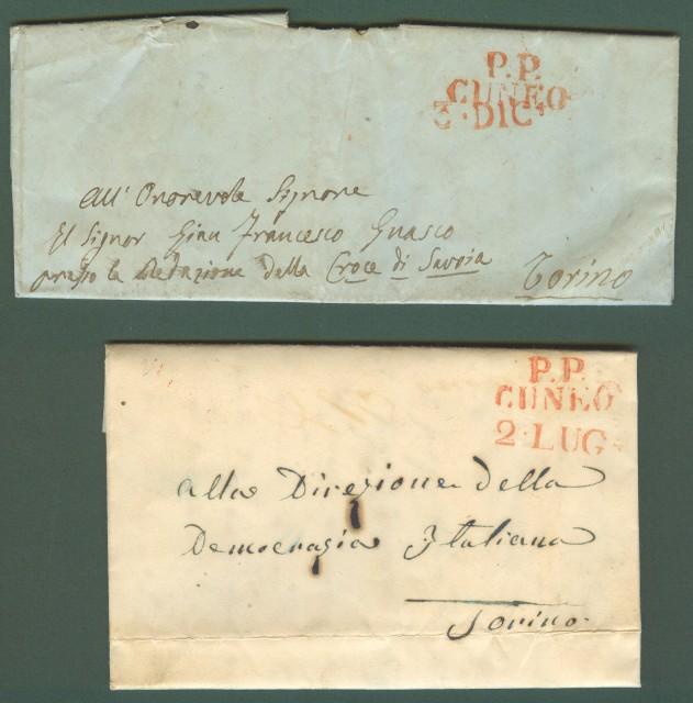 PIEMONTE. CUNEO. Due lettere in porto pagato del 1849 per Torino.