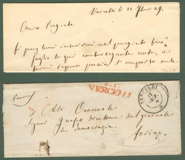 PIEMONTE. VERCELLI doppio cerchio nero + P.P. VERCELLI in rosso su lettera per Torino del 11 settembre 1849.