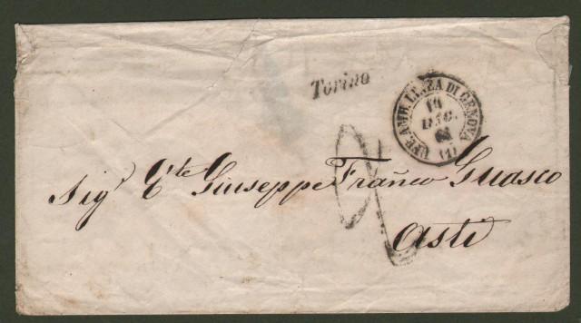 Prefilatelia. REGNO DI SARDEGNA. Ferrovia. Linea Genova - Torino - Genova. Lettera del 14 dicembre 1861 da Torino per Asti. Al recto corsivo nero di stazione