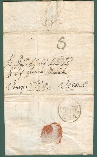 LOMBARDO VENETO. Lettera del 16 Dicembre 1797 da Venezia a Verona. Testo interessante.