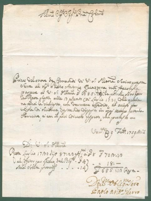LOMBARDO VENETO. REPUBBLICA VENETA. Lettera da Venezia per Casale Monferrato del Febbraio 1759. Completa del testo