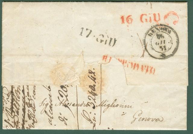 ANTICHI STATI. PONTIFICIO * RISPEDIZIONE. Lettera del 12 Giugno 1851 da Roma per Genova e da lì rispedita a Novi (Alessandria).