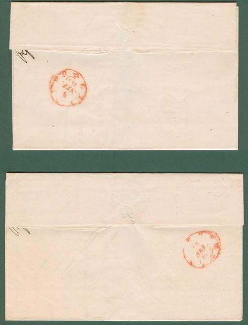 ANTICHI STATI. ISOLA D'ELBA * Due lettere da Marina di Rio per Livorno del 7 e 13 Settembre 1859 entrambe con doppio cerchio di MARINA DI RIO impresso in azzurro (raro)