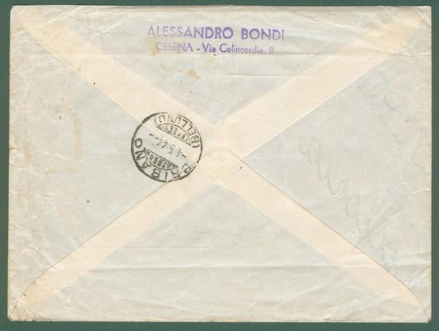 STORIA POSTALE REPUBBLICA SOCIALE ITALIANA. Lettera raccomandata espresso del 29.04.1944 da Cesena a Bribano (Belluno).