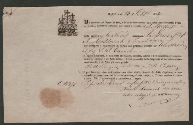 NAVIGAZIONE. Bolla di carico del 13 febbraio 1844 da Malta per Alessandria d''Egitto per merce spedita con la nave La Grecia.