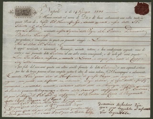 NAVIGAZIONE. Bolla di carico del 15 giugno 1808 da Napoli a Livorno per merce spedita con la feluca Nostra Signora Delle Vigne.