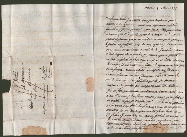 TOSCANA - FRANCIA. N. 27 ARM. FRANCAISE EN ESPAGNE. Bollo stampatello nero su tre righe. Lettera del 3 marzo 1809 da Madrid per Pisa.