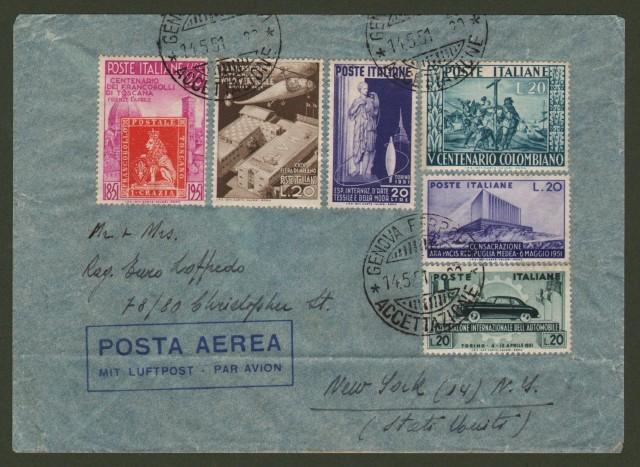 Repubblica. AEROGRAMMA del 14 maggio 1951 da Genova a New York.