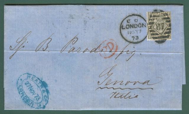 Storia postale Estero. GRAN BRETAGNA. Lettera del 1873 da Londra a Genova, affrancata con 6 p. grigio oliva.