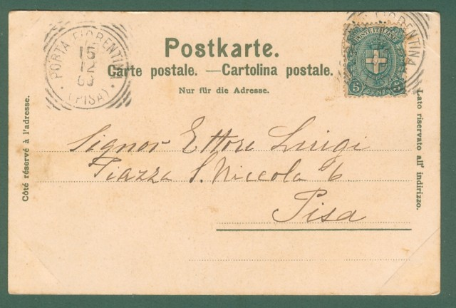 Storia postale Regno. PORTA FIORENTINA (Pisa). Tondo riquadrato, cartolina del 15.12.1900.