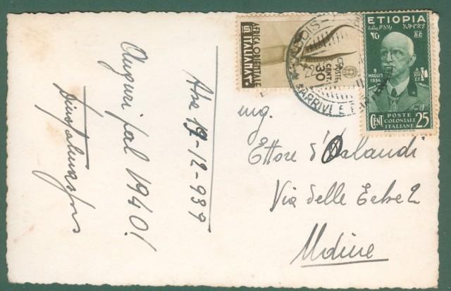 Storia postale Colonie. ETIOPIA + AFRICA ORIENTALE ITALIANA. Cartoline del 22.12.1939 da Addis Abeba per Udine.