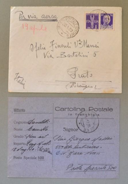 GUERRA DI SPAGNA. Insieme formato da: 1) Lettera aerea del 20.04.1939 per Prato. 2) Cartolina postale in franchigia del 12.12.1938 indirizzata alla Posta Speciale 500..