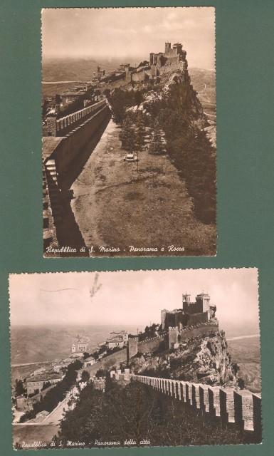 SAN MARINO. Due cartoline del 1948 affrancate con valori serie Stemmi e Roosevelt.