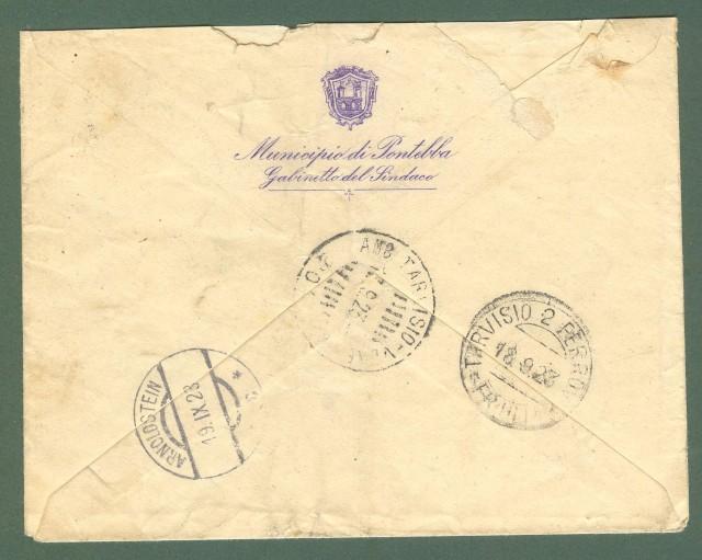 Storia postale Regno. Raccomandata del 17.09.1923, affrancata cent. 30 + coppia cent. 85 tipo Michetti.