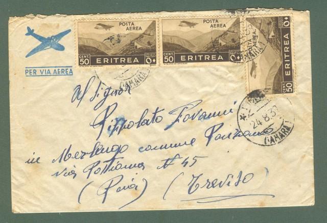 Storia postale Colonie. ERITREA. FICCIE' * (AMARA). Aerogramma del 24.4.38 per Treviso.