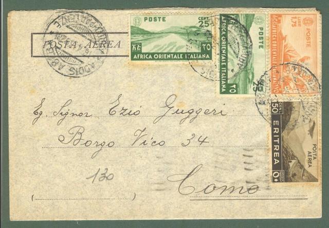Storia postale Colonie. AFRICA ORIENTALE ITALIANA - ERITREA. Aerogramma del 16.4.1939 da Asmara per Como.