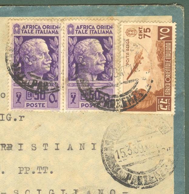 Storia postale Colonie. AFRICA ORIENTALE ITALIANA. Aerogramma del 15.3.1939 da Asmara per Scigliano (Cosenza).