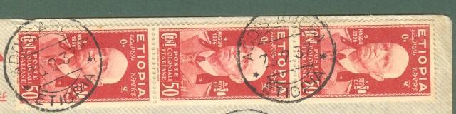Storia postale Colonie. ETIOPIA. Aerogramma del 29.2.1937 da Addis Abeba per Trieste.