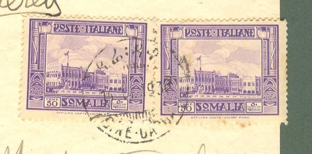 Storia postale Colonie. SOMALIA. DIRE - DAOUA. Annullo bilingue su cartolina del 14.6.1936 per Palermo.