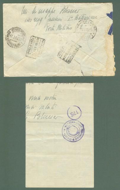 Storia postale Regno. SECONDA GUERRA. POSTA MILITARE N. 72 su lettera del 13.02.1943.