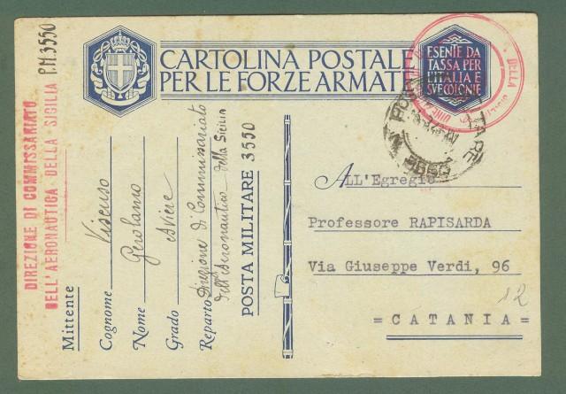 Storia postale Regno. SECONDA GUERRA. POSTA MILITARE N. 3550  + amministrativo in rosso DIREZIONE DI COMMISSARIATO DELL'AERONAUTICA DELLA SICILIA.