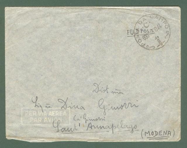 Storia postale Regno. SECONDA GUERRA. REPUBBLICA SOCIALE ITALIANA. POSTA DA CAMPO C, su lettera del 13.10.1944.