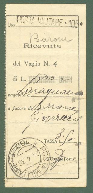 Storia postale Regno. GUERRA D'AFRICA. POSTA MILITARE 105...su ricevuta di vaglia del 24.4.1936