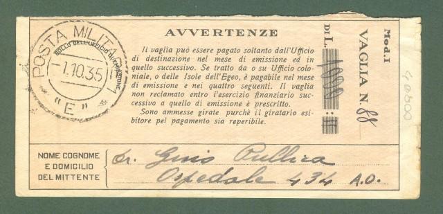 Storia postale Regno. GUERRA D'AFRICA. POSTA MILITARE 1 E.