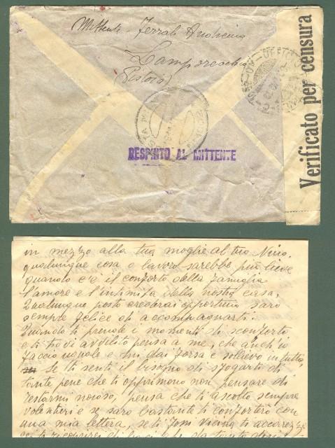 POSTA MILITARE SECONDA GUERRA UFFICIO POSTALE - C - 1002 - AO (8.11.1940) + POSTA MILITARE 1002 (18.11.1940). Lettera del 3. 10.1940 da Lamporecchio...