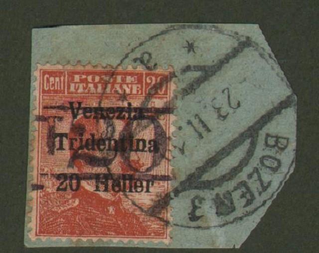 TRENTINO ALTO ADIGE. Segnatasse provvisori. Anno 1918/19. Francobollo d'Italia da cent. 20 arancio soprastampato Venezia Tridentina e nuova soprastampa in nero (Sassone B23/13).
