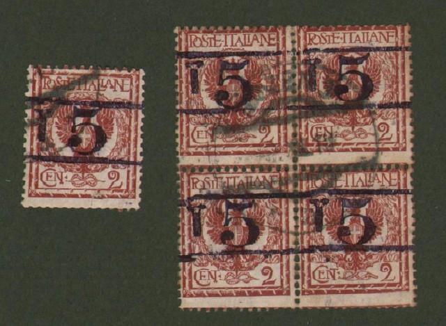 TRENTINO ALTO ADIGE. Segnatasse provvisori. Anno 1918/19. Francobollo d'Italia da cent. 2 bruno rosso con soprastampa in nero (Sassone B23/10).
