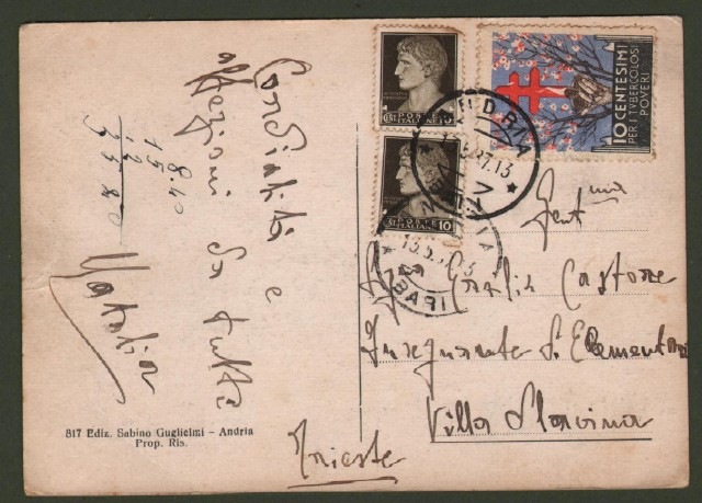 Regno. Affrancatura d'emergenza. Cartolina del 13.5.1937 da Andria a Trieste.
