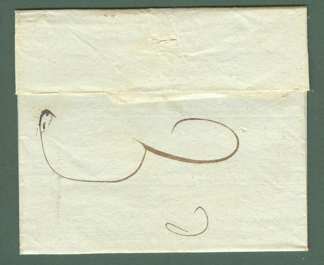Prefilatelia. LIGURIA. P87P GENES, bollo rosso su lettera per Prato.