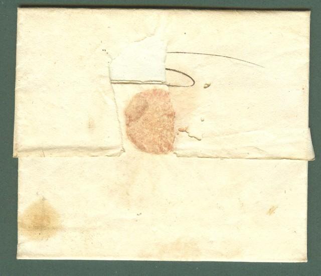 Prefilatlia. REPUBBLICA LIGURE. Interessante uso contemporaneo del bollo nero GENOVA e del bollo rosso 87 GENES su lettera per Prato.