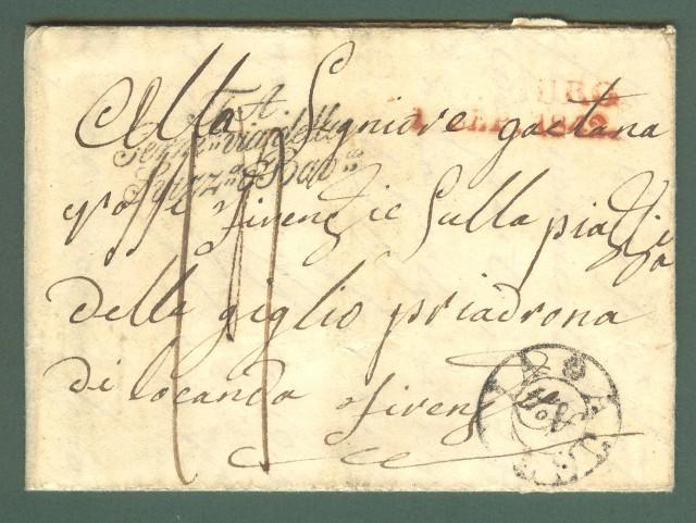 Prefilatelia. TOSCANA. AUSTRIA N.4, bollo nero in arrivo a Firenze su lettera dalla Germania del 1 Settembre 1842.