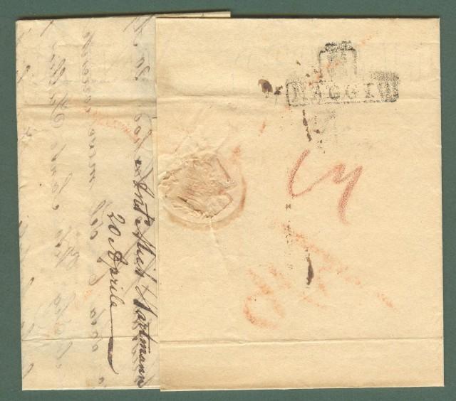 Prefilatelia. TOSCANA - SVIZZERA. Lettera del 1839 da Chur (Coira) a Firenze.