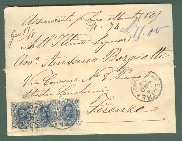 Storia postale. REGNO ITALIA. Assicurata per lire 80 del 24 Agosto 1898 da Feltre (Belluno) a Firenze.