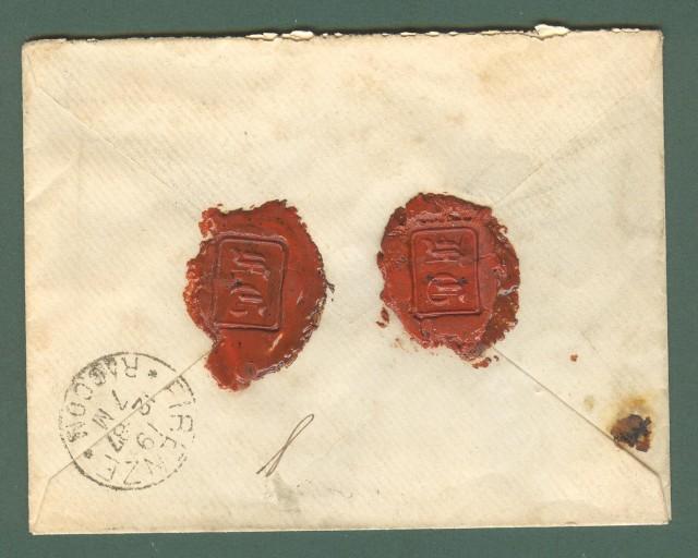Storia postale. REGNO ITALIA. Raccomandata da Pisa Succursale Ferroviaria del 18.12.1887.