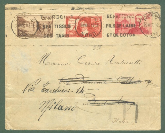 Storia postale estero. FRANCIA. FRANCE. Letter for Milano, 1937.
