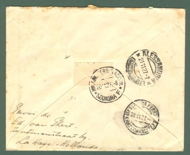 Storia postale estero. OLAND. HOLLAND. Regitered letter 1927 for Alessandria (Italie).