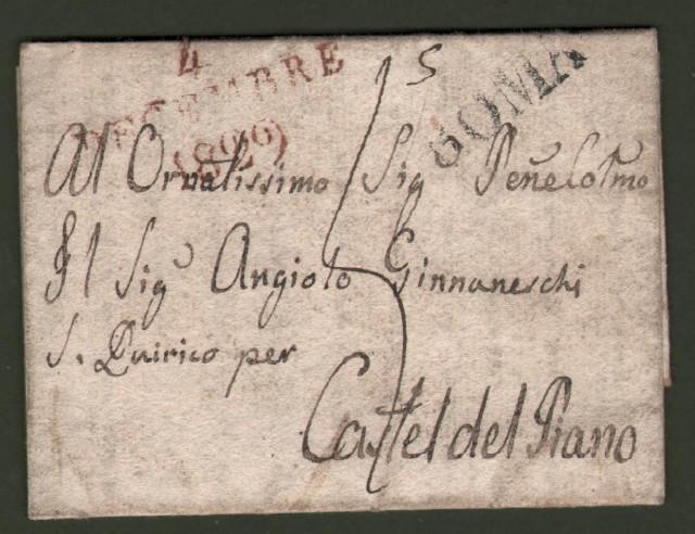 Prefilatelica. TOSCANA. Lettera del 1826 per Castel del Piano da Roma.
