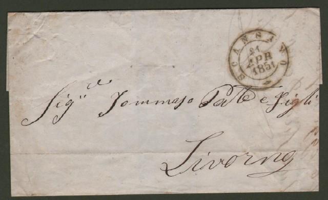 Prefilatelica. TOSCANA. SCANSANO, lettera del 21 aprile 1851 per Livorno.