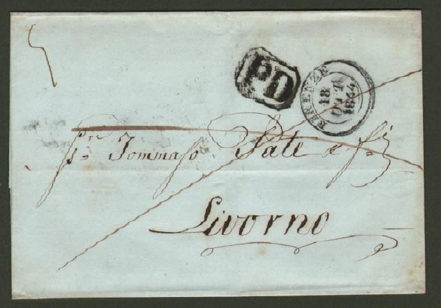 Prefilatelica. TOSCANA. Firenze d.c. + PD in cartella. Lettera del 18.10.1844 per Livorno.