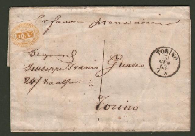 ITALIA REGNO. 1'° mese d'uso. Lettera del 31 gennaio 1863 interna a Torino.